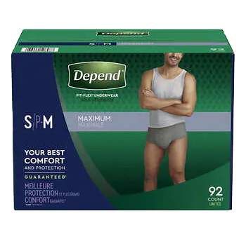 Men's Depend Adult Diapers, Small, 92 pack